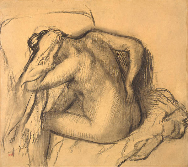 Edgar Degas Art Print featuring the drawing After The Bath .woman Drying Her Hair by Edgar Degas