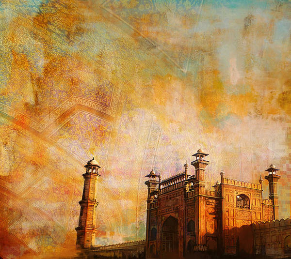 Pakistan Art Print featuring the painting Badshahi Mosque by Catf