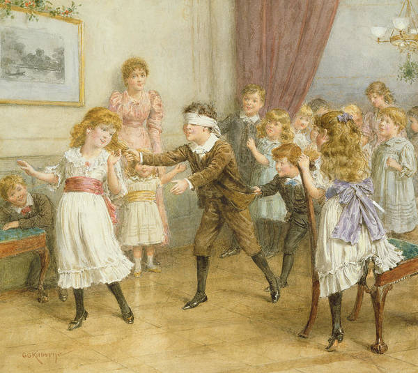 19th; 20th; Edwardian; Children; Playing; Game; Party; Governess; Nanny; Male; Female; Young Boy; Young Girl; Catching; Chasing; Pulling Hair; Excited; Fun; Blindfold; Blindfolded Art Print featuring the painting Blind Mans Buff by George Goodwin Kilburne