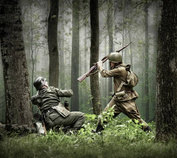 Army Art Print featuring the photograph Combat by Dmitry Laudin