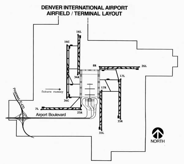 Denver Airport Runway Map Denver: Airport Layout Art Print by Granger