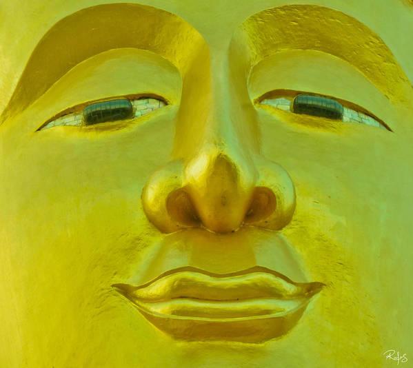 Buddha Art Print featuring the photograph Golden Buddha Smile by Allan Rufus