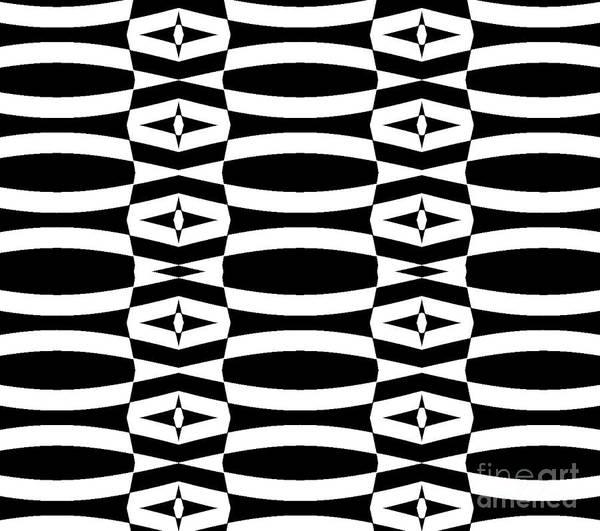 Op Art Art Print featuring the digital art Op Art Geometric Black White Pattern Abstract No.290. by Drinka Mercep