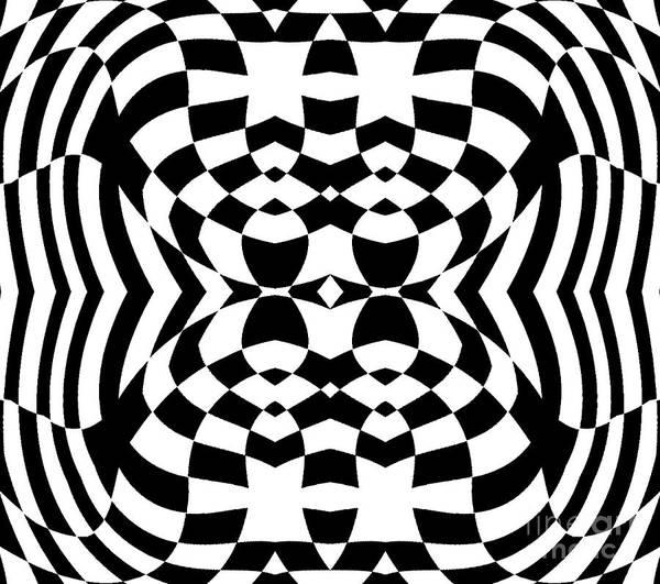 Op Art Art Print featuring the digital art Op Art Geometric Pattern Black White Print No.230. by Drinka Mercep