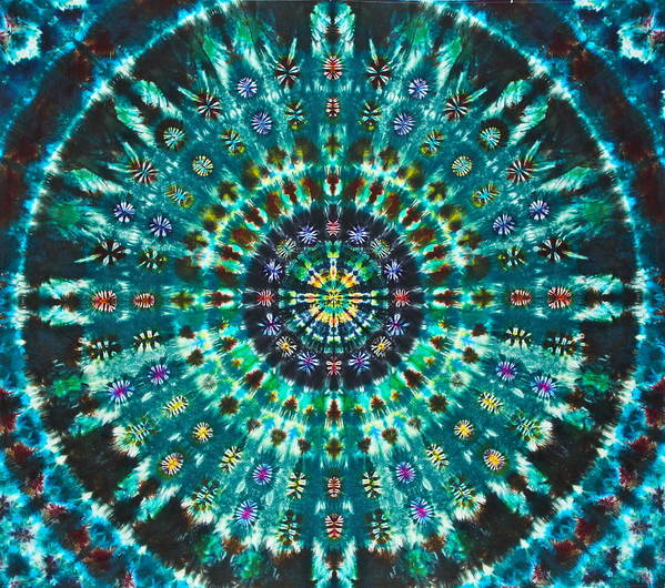 Tie Dye On Cotton Art Print featuring the tapestry - textile Peacock Throne Mandala by Courtenay Pollock