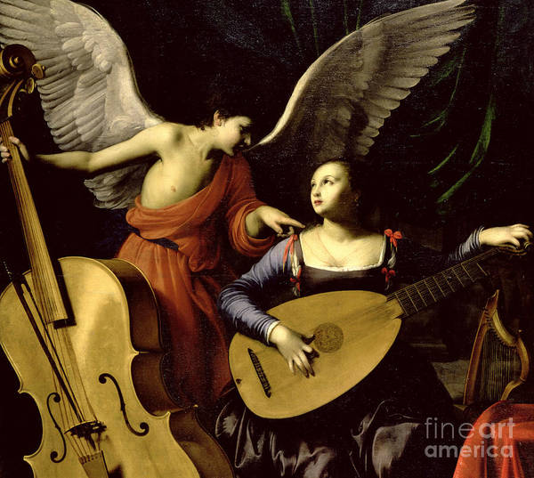 St Art Print featuring the painting Saint Cecilia And The Angel by Carlo Saraceni