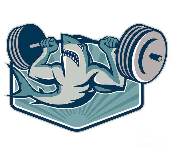 Shark Print featuring the digital art Shark Weightlifter Lifting Weights Mascot by Aloysius Patrimonio