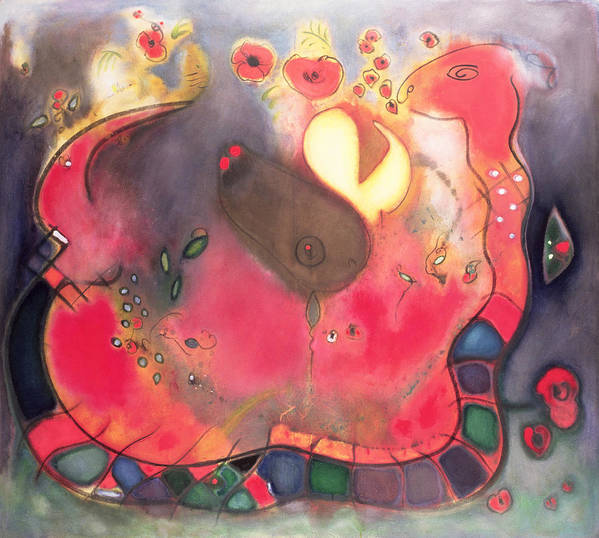 Serpent; Red; Abstract Print featuring the painting The Sacred Snake by Jane Deakin