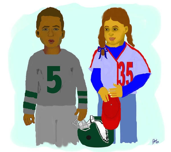 Sports Art Print featuring the painting Young Phans by Pharris Art