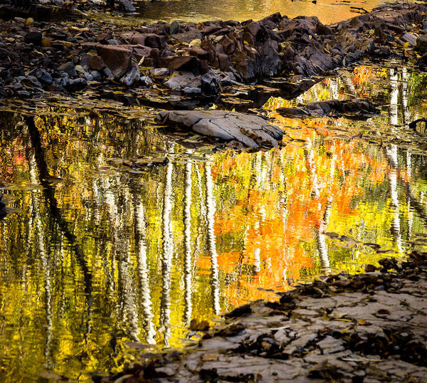 Reflection Autumn autumn Reflection fall Colors Duluth Nature Magical Serene amity Creek Minnesota fleeting Moment Art Print featuring the photograph A Moment Of Reflection by Mary Amerman
