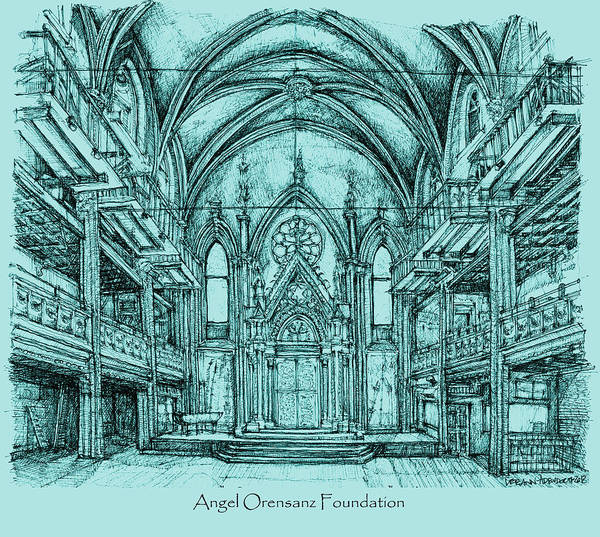 Angel Art Print featuring the drawing Angel Vizcaya Foundation Venue In Nyc by Building Art