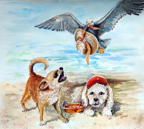 Leslie Art Print featuring the painting Life's A Beach by Leslie Hoops-Wallace