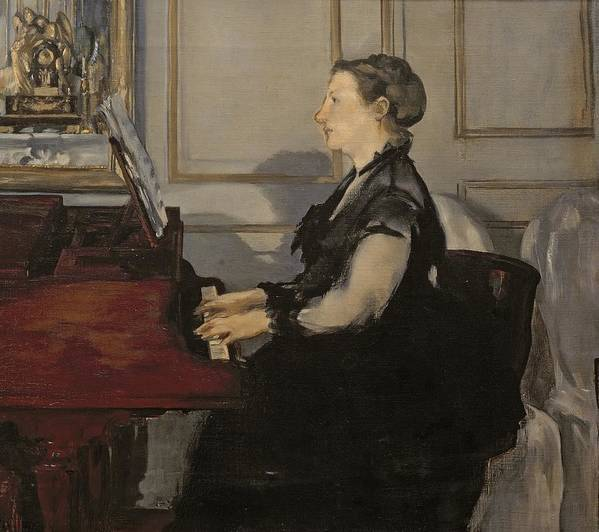 Madame Manet At The Piano Art Print featuring the painting Madame Manet At The Piano by Edouard Manet