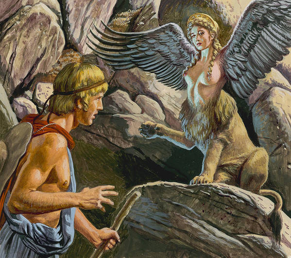 Thebes; Thebans; Lion; Beauty; Greek Legend; Mythology; Greece; Ancient Greece; Confrontation; Male; Thinking; Pensive; Creature; Riddle; Oedipe Art Print featuring the painting Oedipus Encountering The Sphinx by Roger Payne