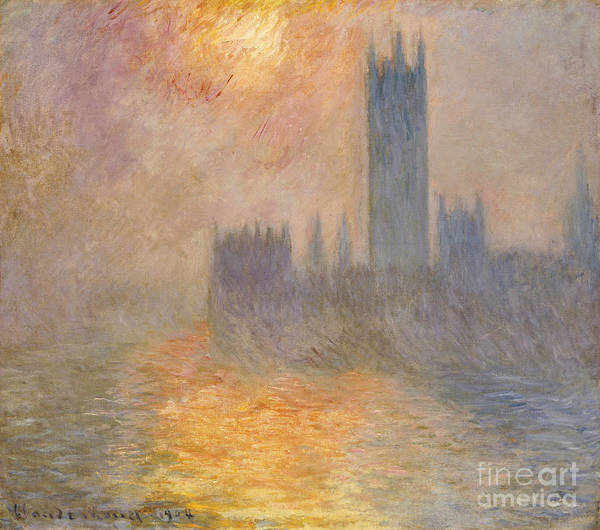 The Houses Of Parliament Art Print featuring the painting The Houses Of Parliament At Sunset by Claude Monet