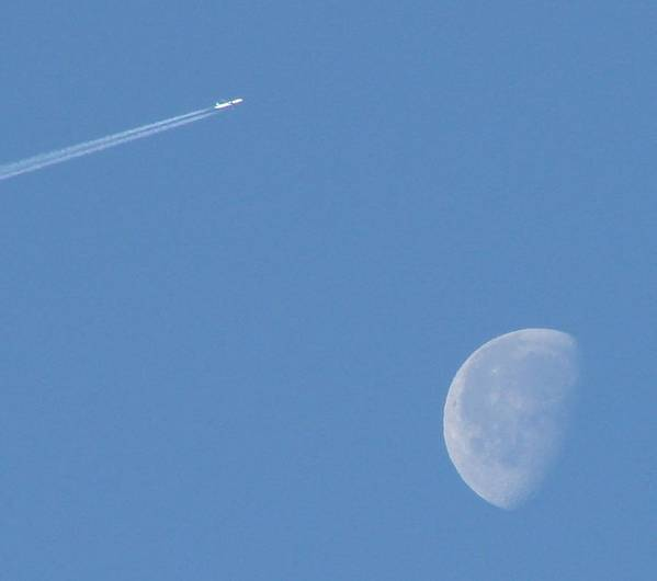 Moon Art Print featuring the photograph Flying Over The Moon by Liz Vernand