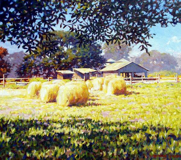 Hay Art Print featuring the painting Jenny Rays Farm by Kevin Lawrence Leveque