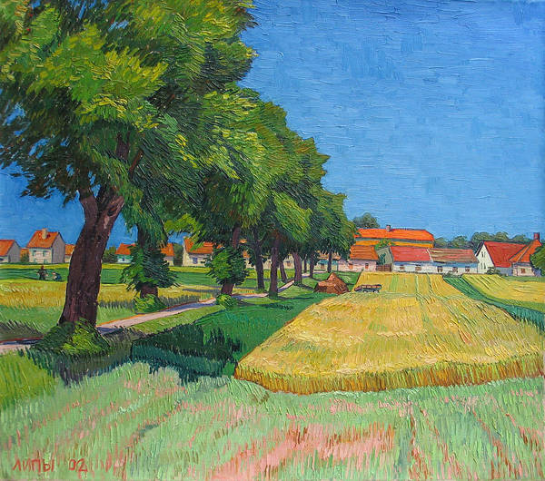 Red Roofs Art Print featuring the painting A Lane With Blossoming Lindens by Vitali Komarov