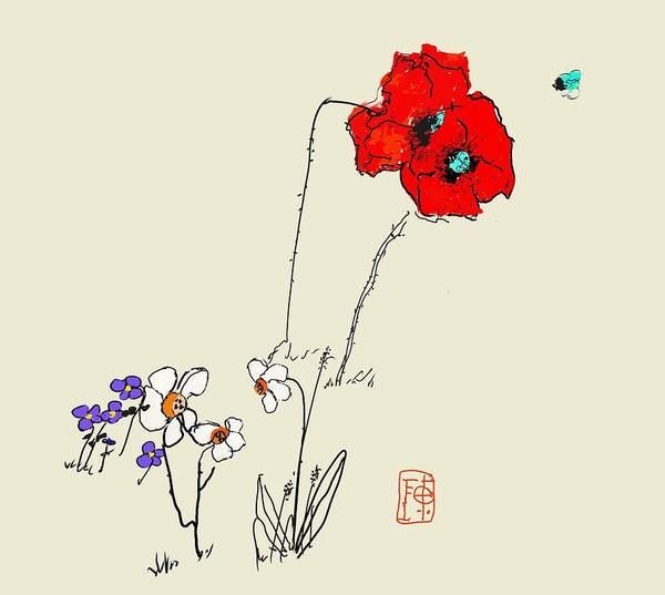 Garden. Spring. Poppies. Narcissus. And Such Art Print featuring the digital art A Spring Look by Debbi Saccomanno Chan