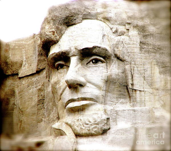 Mt Rushmore Abe Lincoln President Monument Slavery Emancipation Proclamation Art Print featuring the photograph Abe by Nancy TeWinkel Lauren