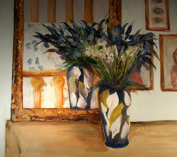 Iris Art Print featuring the painting Blue Iris by Pat White