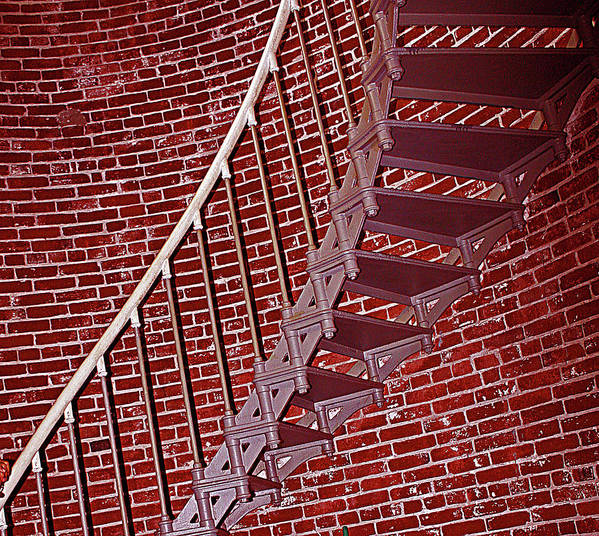Umpqua Light House Stairs Art Print featuring the photograph Brick And Stairs by Kami McKeon