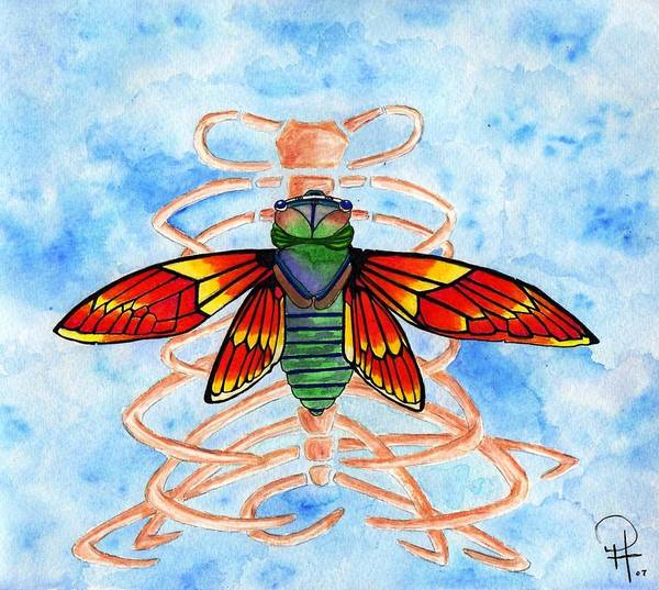 Cicada Art Print featuring the painting Cicada Cage by Doug Hiser