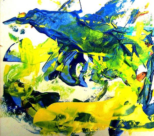 Abstract Art Print featuring the painting Is It A Bird by Bruce Combs - REACH BEYOND
