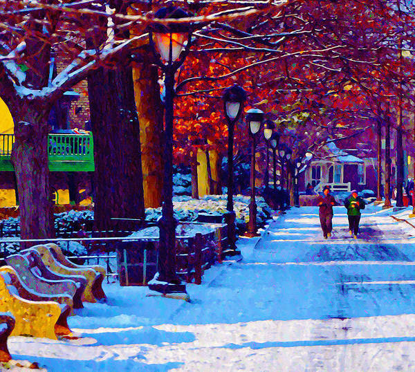 Jogging In The Snow Along Boathouse Row Art Print featuring the photograph Jogging In The Snow Along Boathouse Row by Bill Cannon