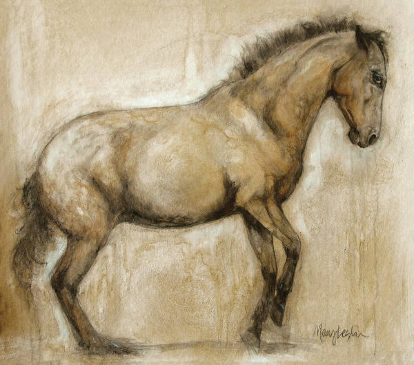 Horse Art Art Print featuring the painting Lock And Load by Mary Leslie