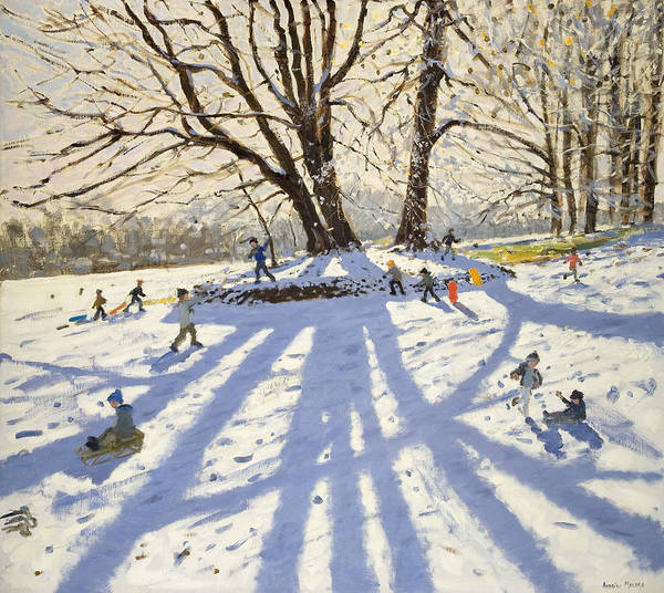 Winter Art Print featuring the painting Lomberdale Hall Derbyshire by Andrew Macara