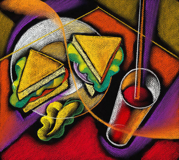 Bowl Close Up Color Image Concept Convenience Dinner Food And Drink Fork Grape Hamburger Illustration Illustration And Painting Lunch Macaroni Macaroni And Cheese Nobody Sandwich Square Image Still Life Variety Assortment Bread Close-up Color Colour Cutlery Drawing Food Fruit Ground Beef Meal Mince Pasta Square Still-life Abstract Painting Decorative Art Art Print featuring the painting Lunch by Leon Zernitsky