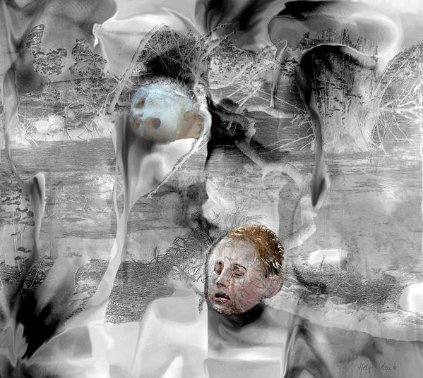 Photopainting Art Print featuring the digital art Mourning by Helga Schmitt