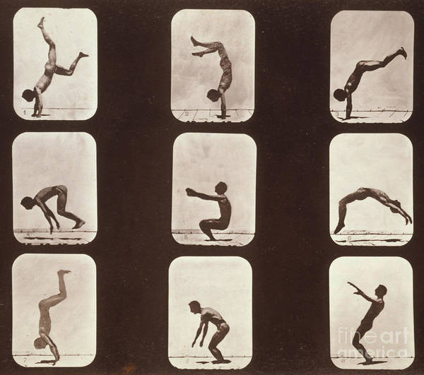 High-speed Photography Art Print featuring the photograph Muybridge Locomotion Back Hand Spring by Photo Researchers