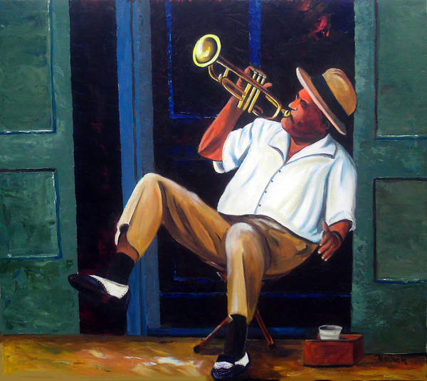 Cuba Art Art Print featuring the painting My Trumpet by Jose Manuel Abraham