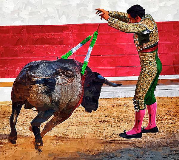 Matador Art Print featuring the photograph Placing Bandirillas by Clarence Alford