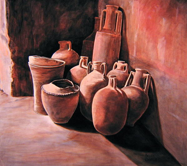 Pompeii Art Print featuring the painting Pompeii - Jars by Keith Gantos