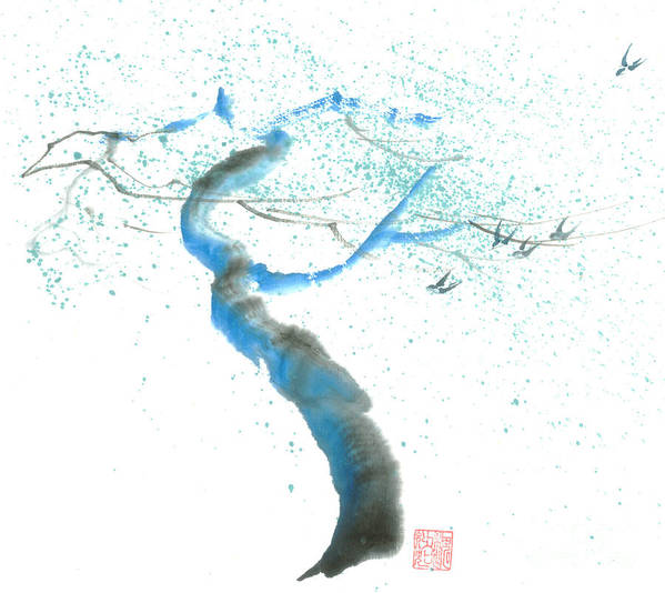 A Swaying Tree With Birds Art Print featuring the painting Strong Wind by Mui-Joo Wee