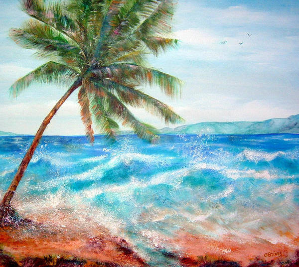 Ocean Art Print featuring the painting Sunset Beach Hawaii by Cheryl Ehlers