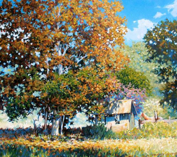 Landscape Art Print featuring the painting Sycamores With Tallow by Kevin Lawrence Leveque