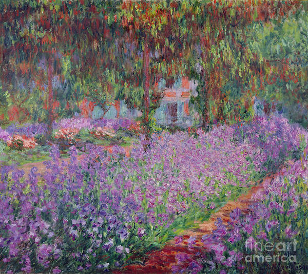 The Art Print featuring the painting The Artists Garden At Giverny by Claude Monet