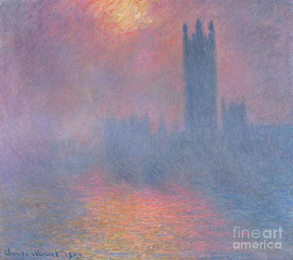 The Art Print featuring the painting The Houses Of Parliament London by Claude Monet
