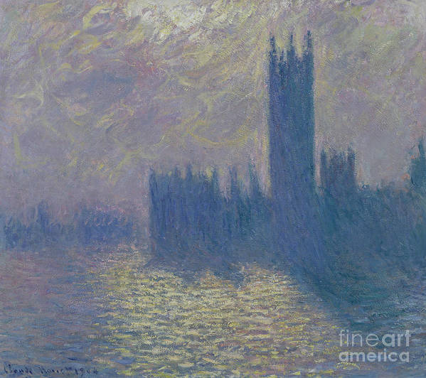 The Art Print featuring the painting The Houses Of Parliament Stormy Sky by Claude Monet