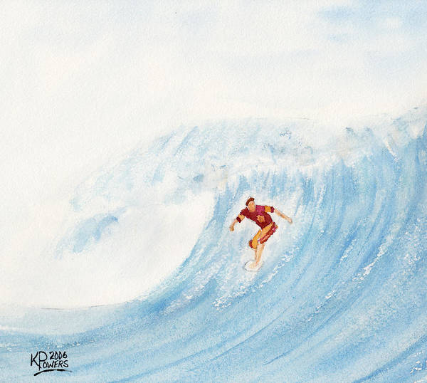 Surf Art Print featuring the painting The Surfer by Ken Powers