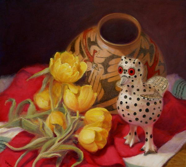 Realism Art Print featuring the painting Tulips And Pottery by Donelli DiMaria