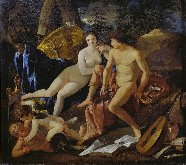 Nicolas Poussin Art Print featuring the painting Venus And Mercury by Nicolas Poussin