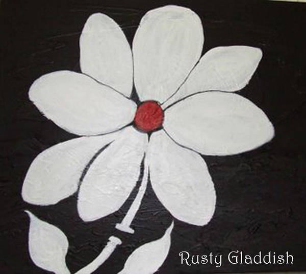 Contemporay Art Print featuring the painting White Flower by Rusty Gladdish