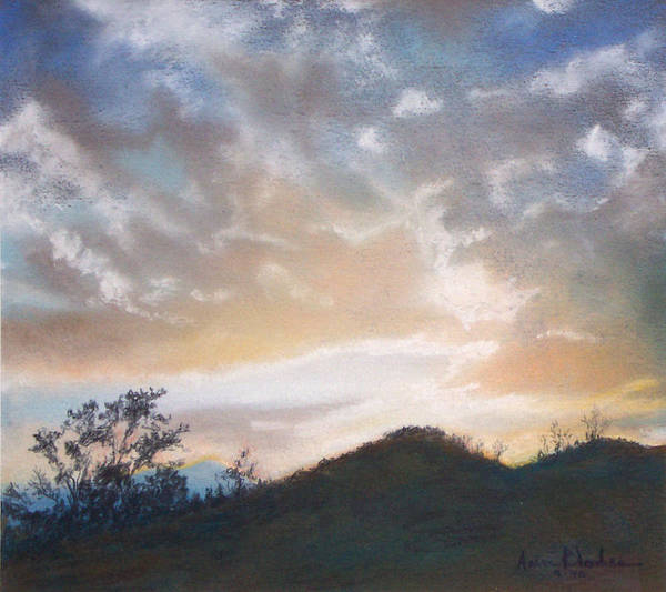 Sunset Art Print featuring the painting White Sunset by Anne Rhodes