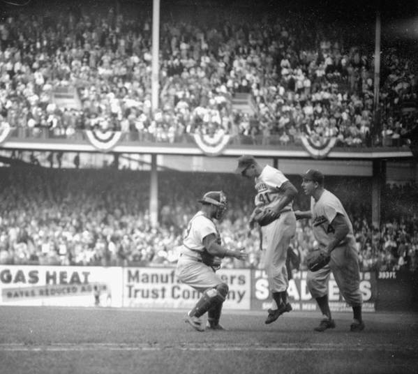 American League Baseball Art Print featuring the photograph Clem Labine Center Is The Happiest Man by New York Daily News Archive