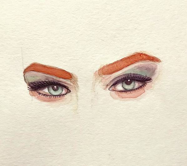 Eye Art Print featuring the painting Makeup Art Painting by Mahsa Watercolor Artist